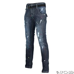 9ee8a03d Peviani Mens Boys D Blue True Ripped Paint Spray Effect Straight Slim Fit  Jeans