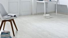 Sol vinyle Imitation parquet usé blanc texline 4m cuba white - Saint Maclou