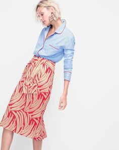 A reason to RSVP yes: this outfit. J.Crew women's pajama top in hydrangea and collection palm leaf jacquard skirt.