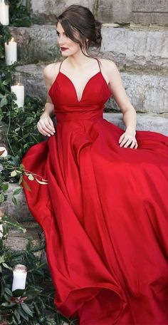 Red Prom Dresses 2019, Long Prom Dresses with Pockets, A-line Prom Dresses Satin, Modest Prom Dresses V-neck #FansFavs #reddress #dresswithpockets #satindress #promdress #2019