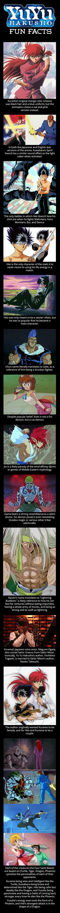 These are mostly interesting Yu Yu Hakusho fun facts I didn't know, but the comparison between it and Sailor Moon, I did know.