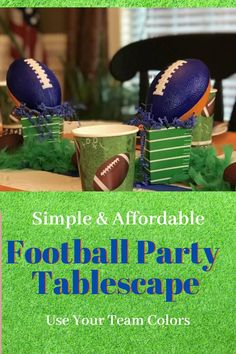 Easy ideas for setting a party mood with team colors. A few items from the Dollar store is all you need to create this football party table decor for a birthday party or any sport them party. Use  your own team colors to set the mood on game day. All of the details along with party food ideas. Football Party Decorations, Diy Party Decorations, Christmas Desserts Easy, Simple Christmas, Auburn Colors, Homemaking, Dollar Stores, Tablescapes, Food Ideas