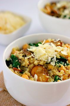 Loaded with fresh spinach, mushroom, chickpeas, and Parmesan, these Spinach and Mushroom Quinoa Bowls are jam-packed with protein, veggies, and flavor!