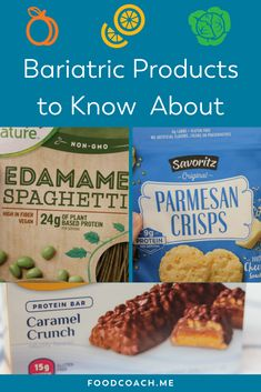Bariatric products to know about! Whether you are new to weight loss surgery or you had your Gastric Sleeve or Bypass years ago, this is a great visual guide for high protein products and snacks! Just the tip of the iceberg! Weight Loss Meals, Best Weight Loss Plan, Protein Snacks, High Protein, Caramel Crunch, Bariatric Recipes, Bariatric Food, Protein Products, Bariatric Surgery