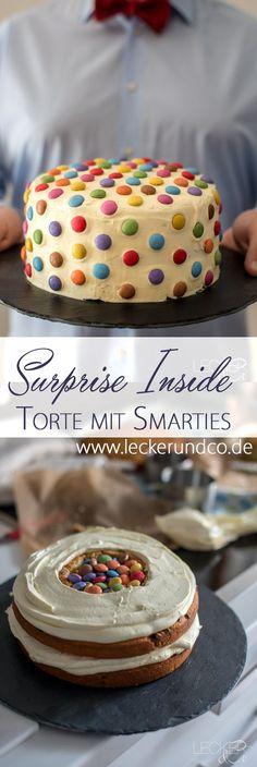 Surprise Inside Torte mit Smarties zum Kindergeburtstag