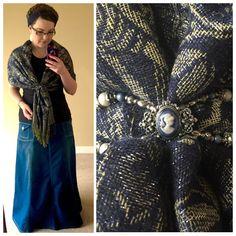 Lilla Rose Cameo Appearance Flexi Clip | Scarf, Long Denim Skirt - Modest Chic Long Denim Skirt - Style J, Navy Twist Head Wrap Garlands of Grace http://www.lillarose.biz/darlingbeauty
