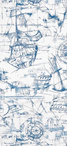 Premier Prints Schooner Nautical Fabric #blue #ship #sailing