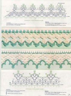 Check out the diagrams and learn to make more than 150 points, (crochet edgings) with images. There are several crochet borders that can be applied in various crochet projects. Crochet Boarders, Crochet Lace Edging, Crochet Motifs, Crochet Diagram, Crochet Squares, Bead Crochet, Cute Crochet, Vintage Crochet, Crochet Flowers