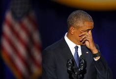 President Barack Obama wipes his tears as he speaks at McCormick Place in Chicago on Jan. 10, giving his presidential farewell address. Charles Rex Arbogast / AP