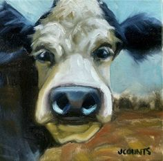 "KYLE BUCKLAND JENN COUNTS FARM ART  COW CATTLE   ANIMAL OIL PAINTING A DAY Impressionism FINE ART WALL ART HOME OFFICE KITCHEN CABIN RESTAURANT DECOR ""Bullwinkle"" 10""x10"""