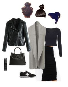 """""""Cold snap: pencil skirt and sneakers"""" by rosyapple ❤ liked on Polyvore featuring ASOS, Topshop, New Balance and Prada"""