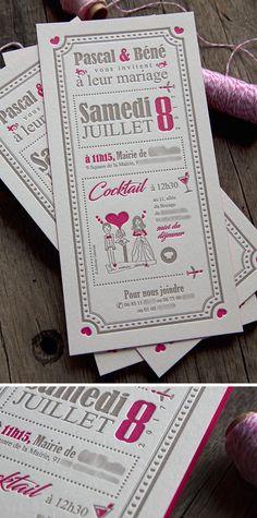 Une création unique dessinée par leur garçon Carton Invitation, Letterpress Printing, Marie, Creations, Playing Cards, Prints, Wedding, Unique, Wedding Bride