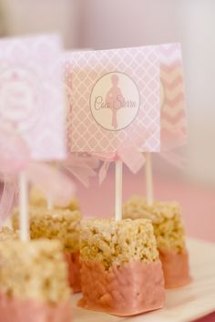 Dipped Rice Krispie treats at a Ballerina Princess in Baby Pink Birthday Party!  See more party ideas at CatchMyParty.com!