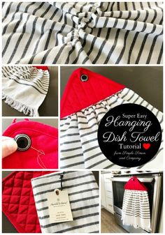 How to Make an EASY Hanging Dish Towel Dish Towel Crafts, Dish Towels, Tea Towels, Hanging Towels, Diy Hanging, Easy Sewing Projects, Sewing Tutorials, Sewing Tips, Sewing Ideas