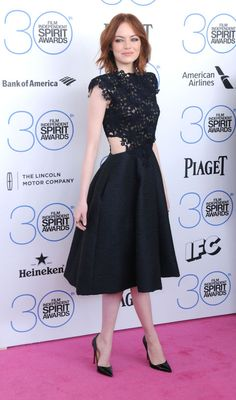 Emma Stone in Monique Lhuillier.