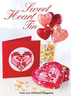 Sweet Heart Tin from the Jan/Feb 2015 issue of Just CrossStitch Magazine. Order a digital copy here: https://www.anniescatalog.com/detail.html?code=AM53357