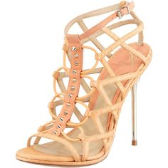 B Brian Atwood Mirante Studded Stretch Cage Sandal, Orange ($495) ❤ liked on Polyvore