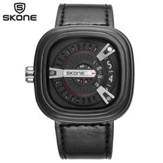 16.99$  Buy here - http://alidj8.shopchina.info/go.php?t=32806710371 - SKONE Men Sports Watches Men's Quartz Clock Man Fashion Casual Leather Square Wristwatch Relogio Masculino 9421G  #aliexpressideas