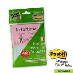 FlashSticks Post-it Haftnotizen zum Italienischlernen, für Anfänger