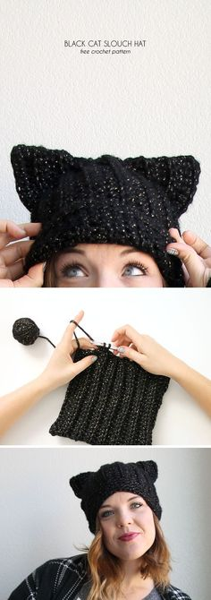 black cat hat - free crochet pattern from http://www.persialou.com