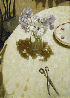 "huariqueje: "" Mauve Primulas on a Table - Sir William Nicholson British, 1872 - 1949 oil on panel, cm in. Painting Still Life, Still Life Art, Paintings I Love, Oil Paintings, Flower Paintings, William Nicholson, Winifred Nicholson, Painting Inspiration, Flower Art"
