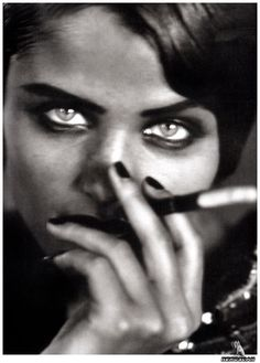 Peter Lindbergh and Helena Christensen's lovely green eyes..in black and white
