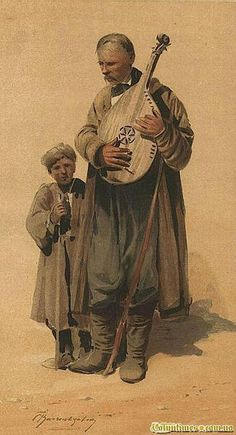 """""""Banduryst with a boy"""" 1900, painting by Sergij Vasyl'kivs'kyi, from Iryna with love"""