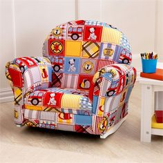 Firefighter Patchwork Upholstered Kids Rocker