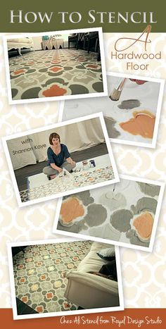 Stencil a hardwood floor carpet with paint and a Moroccan wall stencil from Shannon Kaye and DIYNetwork