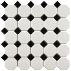 Somertile 11.625x11.625-in Victorian Octagon 2-in Matte White with Glossy Black Dot Porcelain Tiles (Case of 10) $58.99