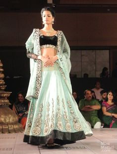 Mint green lengha by Niki Mahajan