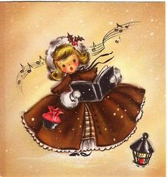 Hallmark Pretty Girl Lady Woman Brown Dress Purse VTG Christmas Greeting Card