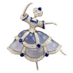 VAN CLEEF and ARPELS Diamond Ballerina Brooch at 1stdibs