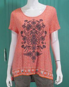 2ec69dd855ab Lucky Brand NEW Women s Border Print Top Tunic Size L  LuckyBrand  Tunic