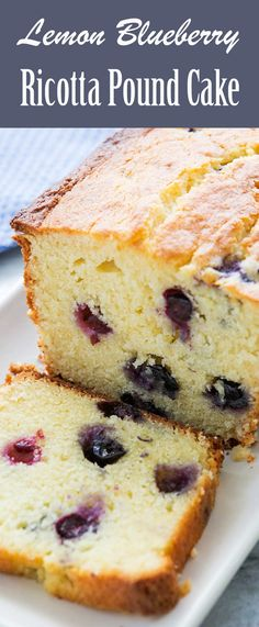 Lemon Blueberry Ricotta Pound Cake Blueberries and lemon? Ricotta cheese in a pound cake? Sweet and lemony, with a delicate crumb, this cake tastes like summer. Riccota Cheese Recipes, Ricotta Cheese Desserts, Recipes Using Ricotta Cheese, Ricotta Dessert, Recipe Using Ricotta, Cheesecake Recipes, Dessert Recipes, Dishes Recipes, Pasta Recipes