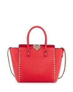 Valentino Rockstud Leather Shopper Tote Bag, Bright Red