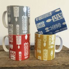 Welsh lovespoons mugs in grey, blue, red or mustard £8 each