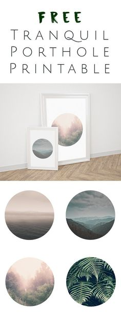 FREE Printable - Tranquil Porthole Wall Art will make any home feel much more sophisticated. Perfect for kids room, home, and office. OkieHome blog and freebies