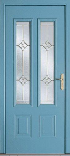 Porte aluminium, Porte entree, Bel'm, Classique, Poignee plaque couleur laiton, Mi-vitree, Double vitrage givre, Minnesota