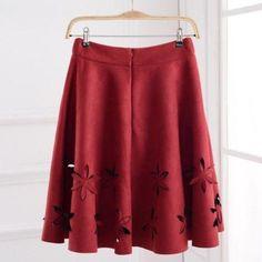 Early Autumn New Fashion Suede Skirt Women Hollow Solid Tutu Skirts Retro Style Casual All-Match Skirts Saia Feminina