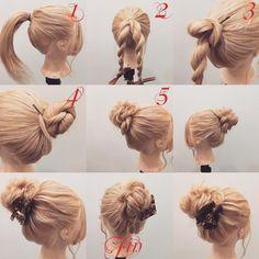 "2,028 Likes, 8 Comments - (香川県/美容師)西川 ヒロキ《ヘアアレンジ・透けカラー》 (@hiroki.hair) on Instagram: ""フォロワーさんリクエスト★ ルーズなお団子の作り方✨ 1,1つに結びます 2,ロープ編みを2本作ります 3,1本のロープ編みを時計回りでゴムの周りに巻き付けピン留めします…"""