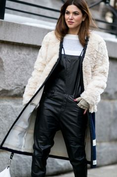 leather overalls with a faux fur jacket