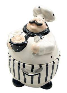 Iwgac Christmas Gift Home Kitchen Storage Organizer Decorative Food Saver Ceramic Statue Chef Cookie Jar