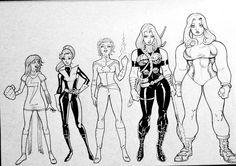 Ms. Marvel, Kitty Pryde, Captain Marvel, Valkyrie, and She Hulk