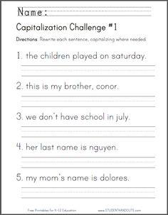 FREE Capitalization Challenge
