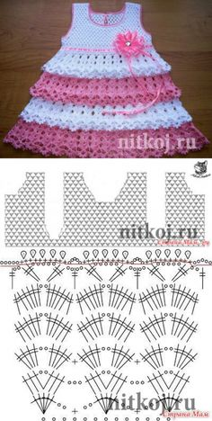 You who love this classic crochet dress. This is a wonderful idea of ​​crochet dress. He wears very well – SkillOfKing. Crochet Baby Dress Pattern, Crochet Fabric, Baby Girl Crochet, Crochet Baby Clothes, Baby Knitting Patterns, Crochet Motif, Crochet Designs, Baby Patterns, Crochet Patterns