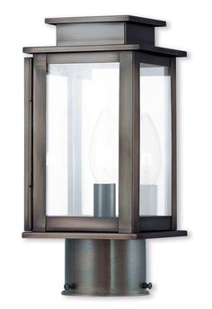 Livex Lighting 20201 Princeton 1 Light 11 Tall Outdoor Post With Clear Gl Vintage