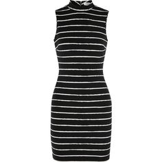 Elizabeth and James Eliona striped stretch-cady mini dress (€155) ❤ liked on Polyvore featuring dresses, black, stretch mini dress, striped collared dress, short dresses, stripe dress and black stripe dress