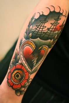 traditional flower heart sinking ship
