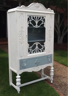 Latest cabinet redo....antique china cabinet painted in Chalk paint ( old white and duck egg blue). I think I will keep this one! Love the detail on the cabinet!!